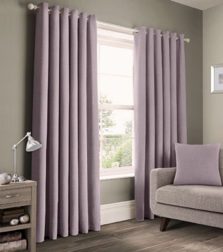 READY MADE PLAIN 100% COTTON MATERIAL UN-LINED RINGTOP EYELET PAIR OF CURTAINS MAUVE